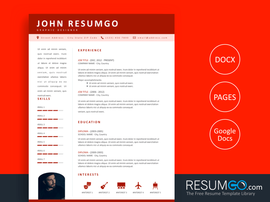 KOSMOS - Free Professional Resume Template with Red Header - ResumGO