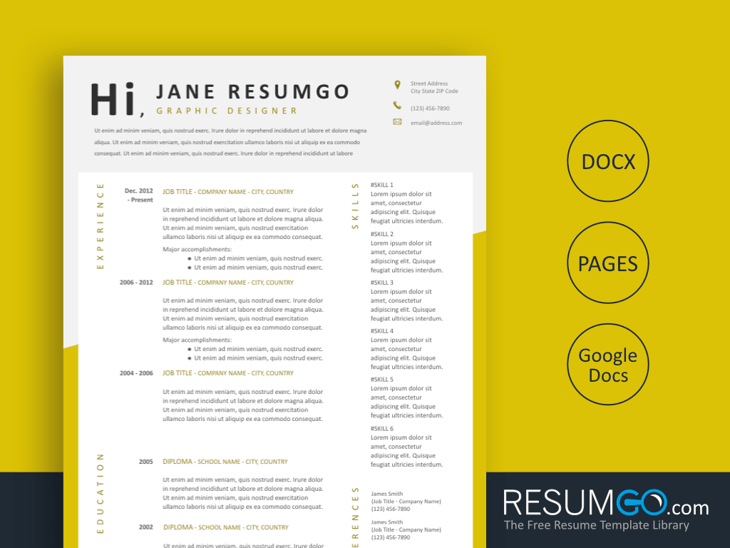 KYRIAKE - Free Modern and Clean Resume Template - ResumGO