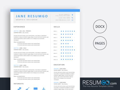 LIGEIA - Free Brilliant Clean Azure And Modern Resume Template - ResumGO