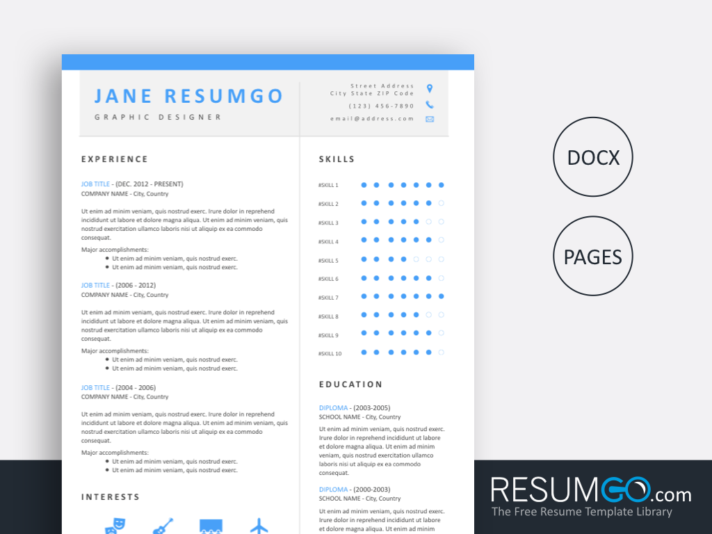 LIGEIA - Free Brilliant Clean Azure And Modern Resume Template - ResumGO