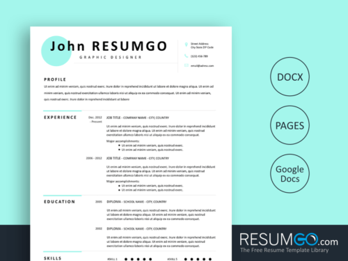 MAKARIOS - Free Blue Doted Resume Template - ResumGO