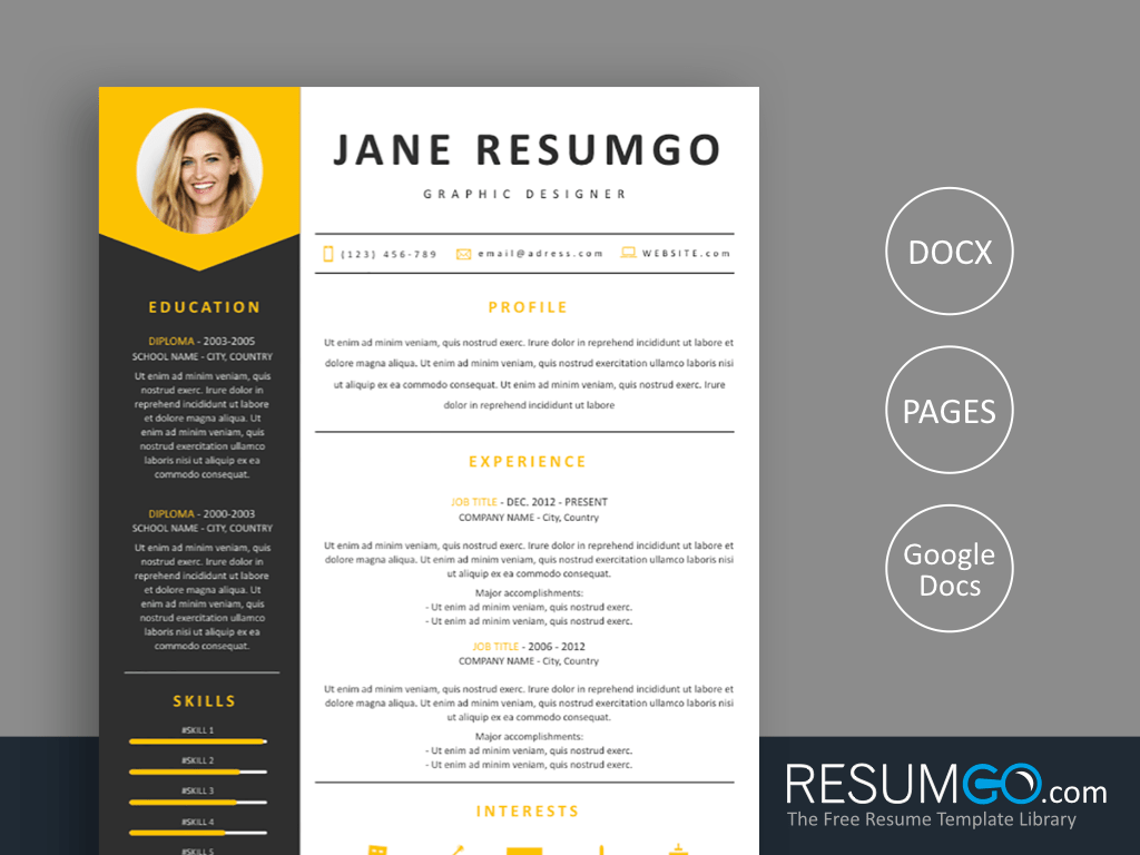 MEDEIA - Free Gray Yellow Resume Template - ResumGO
