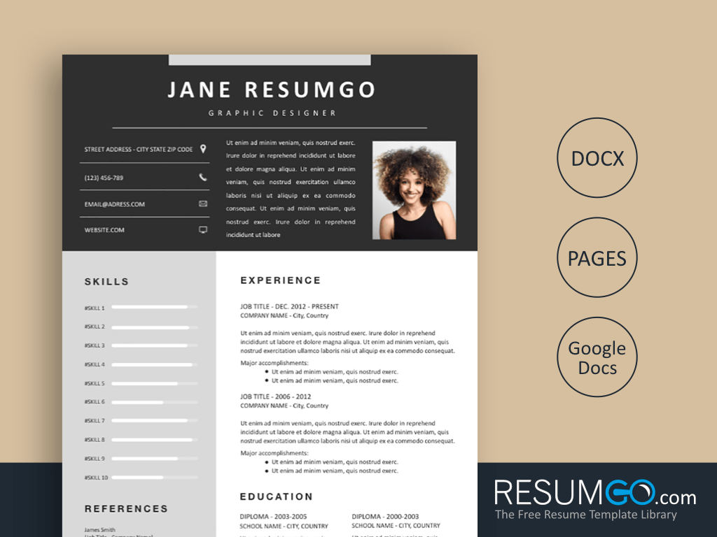 MEDOUSA - Free Charcoal Gray Banner Resume Template - ResumGO