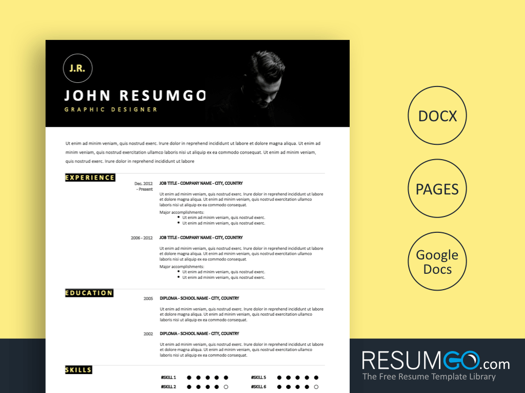 MENTOR - Free Modern Full Width Photo Banner Resume Template - ResumGO