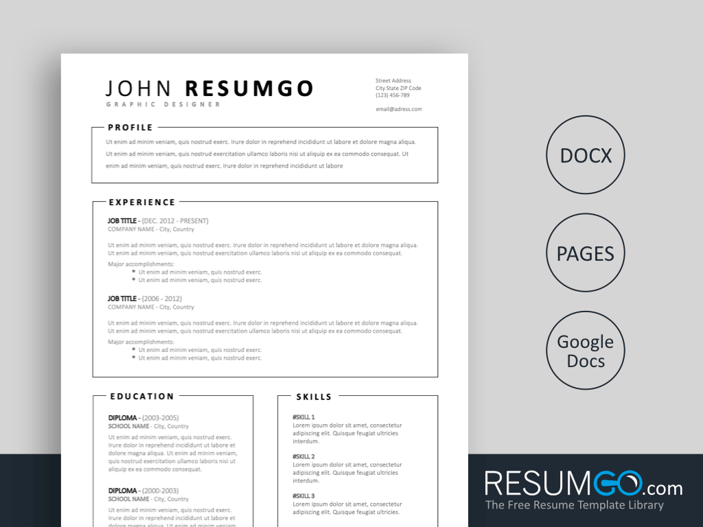 Miltiades Simple Resume Template With Framed Parts