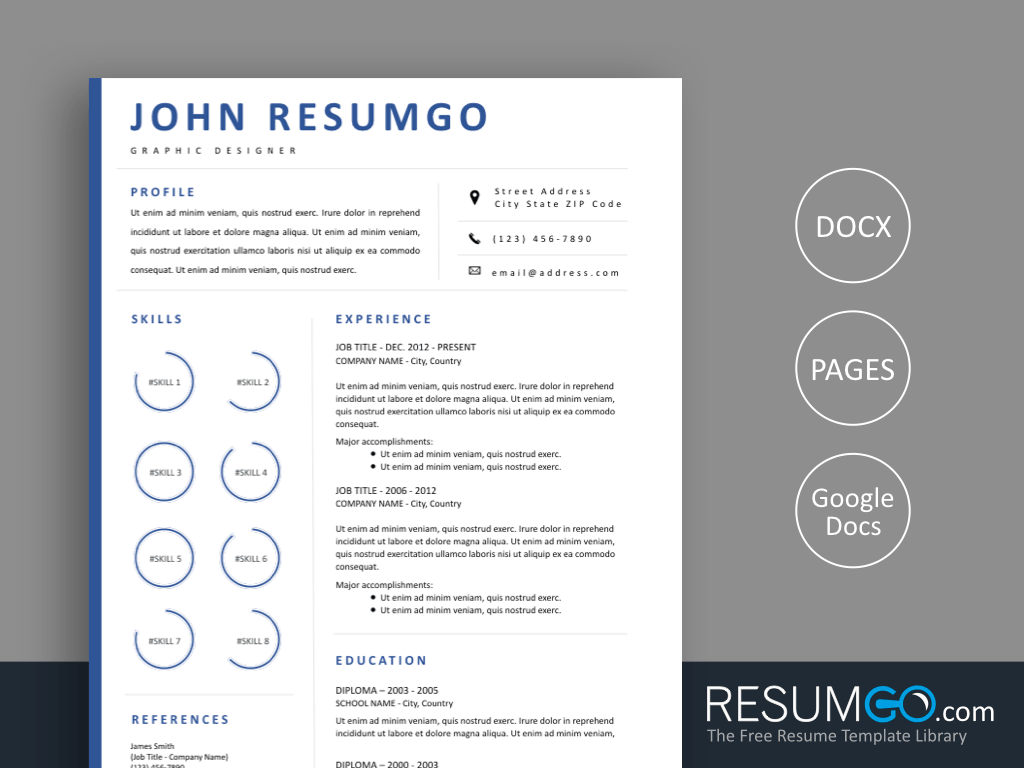 MINTA - Free Blue Border Resume Template - ResumGO
