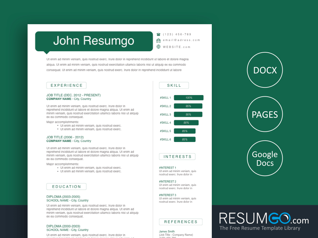 MYRON - Free Green Bubble Speech Resume Template - ResumGO