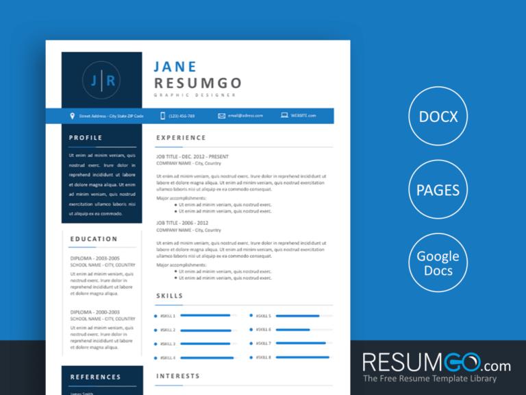 NATASA - Free Blue and Modern Resume Template - ResumGO