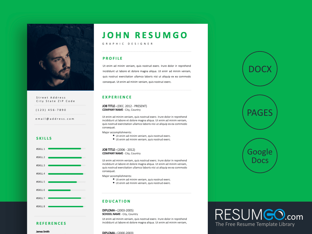 NEREUS – Professional and Modern Resume Template - ResumGO.com