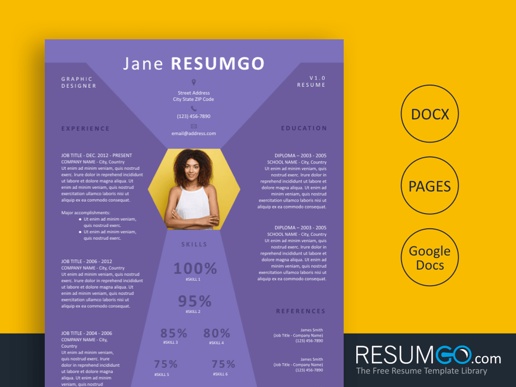 NESTOR - Free Purple Diamond Resume Template - ResumGO
