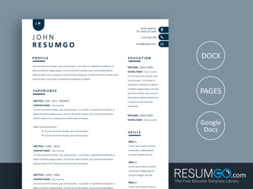 NYX - Free Contemporary and Simple Resume Template - ResumGO