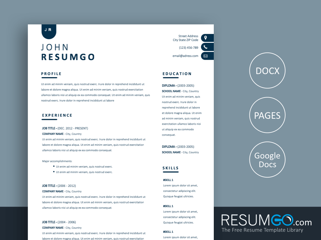NYX - Free Contemporary and Simple Resume Template - ResumGO