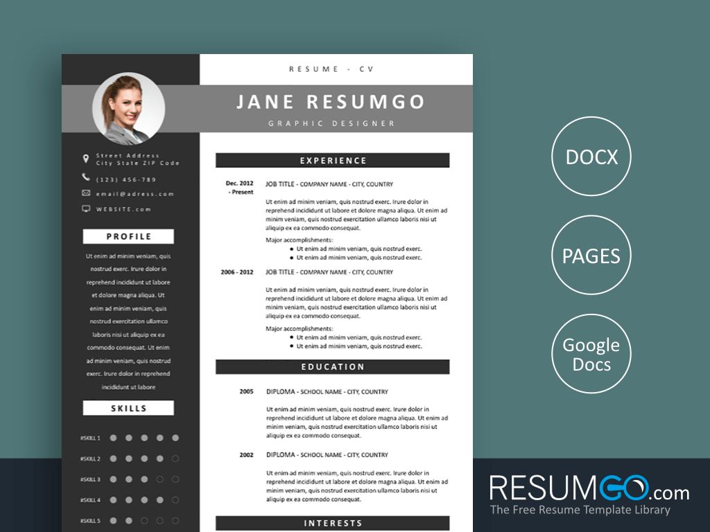 OINONE - Free Gray Modern Banners Resume Template - ResumGO