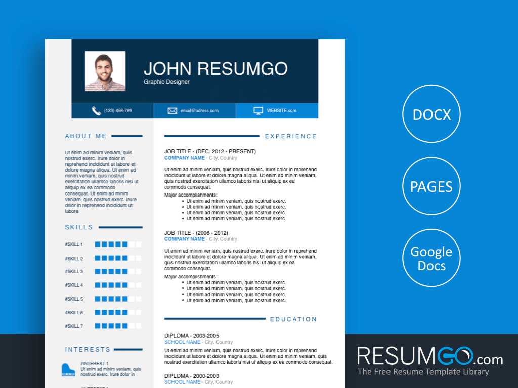 OPHELOS - Free Blue Header Resume Template - ResumGO