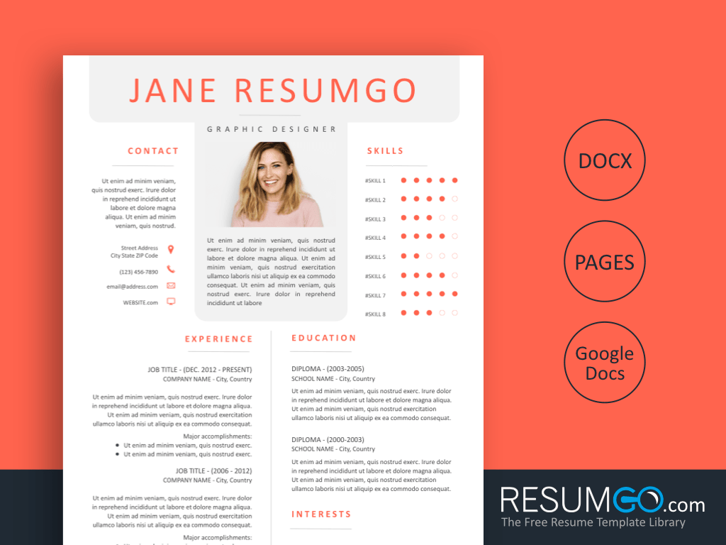 ORIGEN - Free Orange Magazine Resume Template - ResumGO