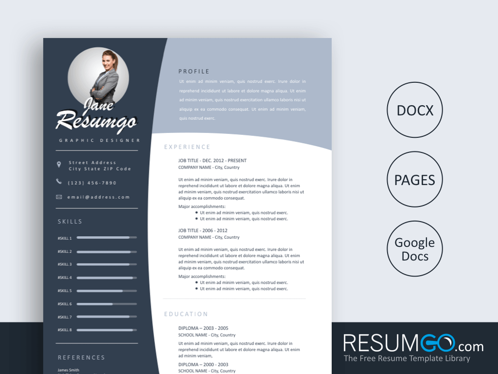 OULIXES - Free Blue Concave Banners Resume Template - ResumGO