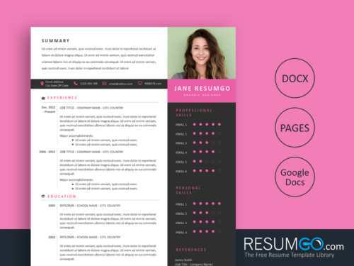 OURANIA - Free Modern and Professional Resume Template - ResumGO