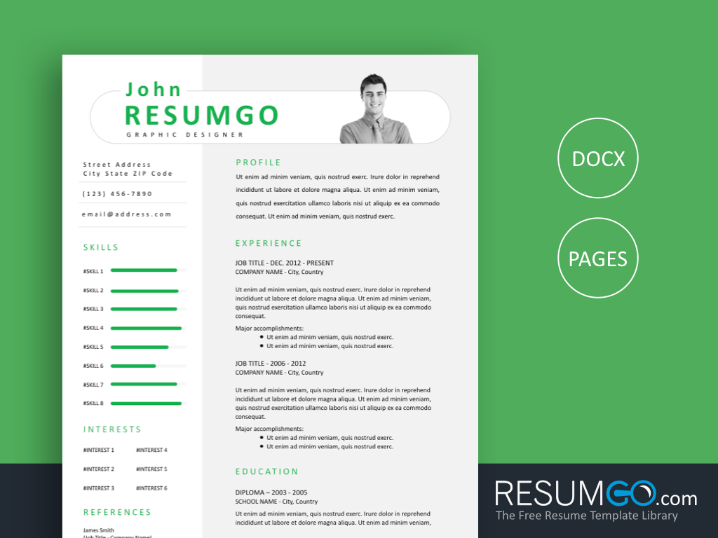 PAEON - Free Green Modern And Professional Resume Template - ResumGO