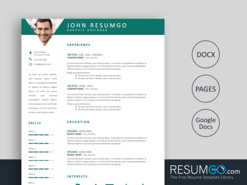 PAMPHILOS - Free Green Header Resume Template with Triangles - ResumGO
