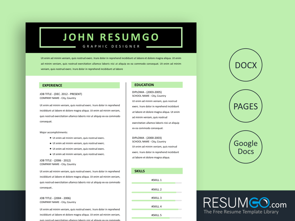 PANDORA - Free Light Green Black Resume Template - ResumGO