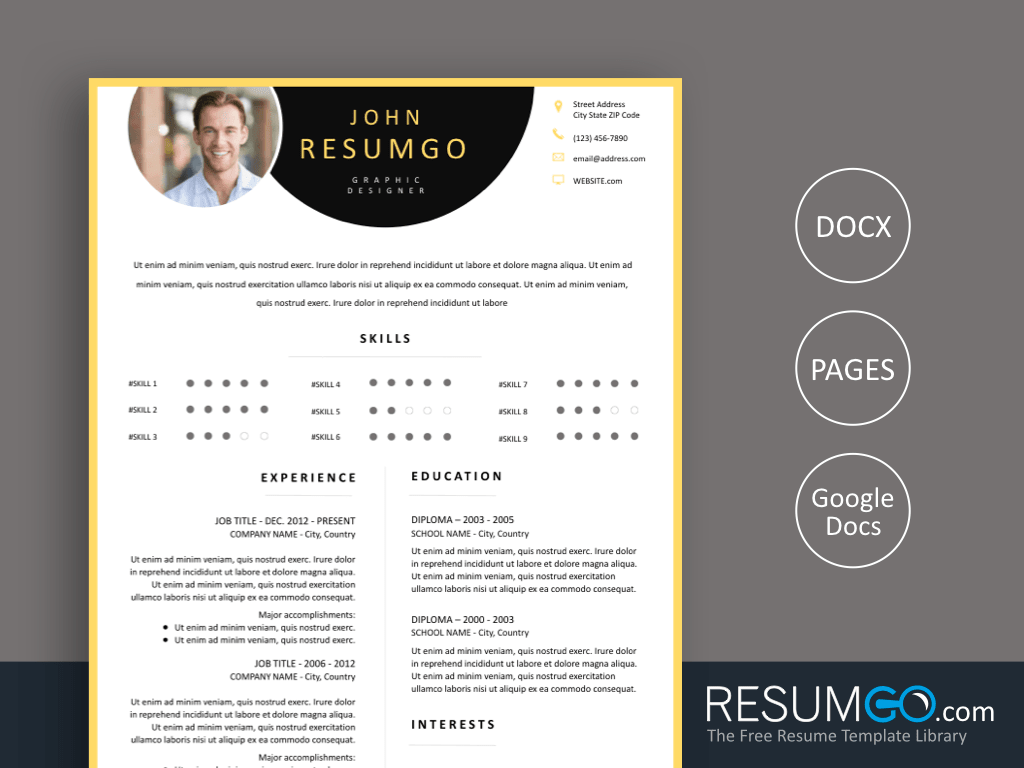PARASKEVE - Free Yellow Border Resume Template With semi Circles - ResumGO