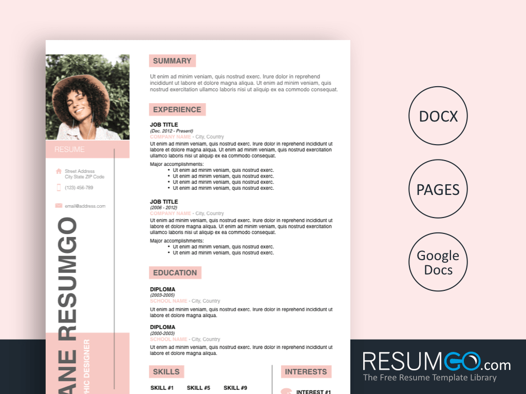 PARIS - Free Modern Pink Resume Template - ResumGO