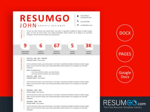 PARIS - Free Modern Resume Template Numbers - ResumGO