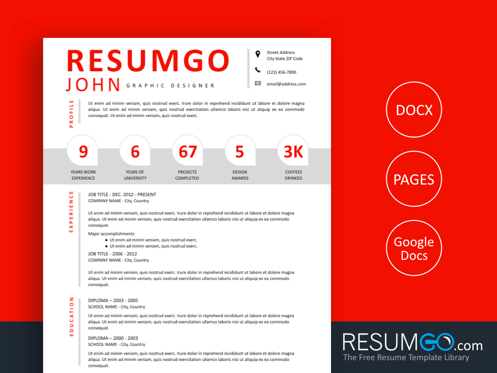 PARIS - Free Modern Resume Template Numbers - ResumGO