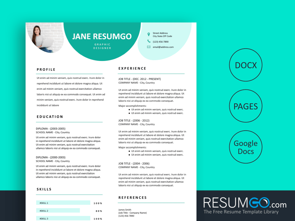 PAVLOS - Free Teal Drop Resume Template - ResumGO