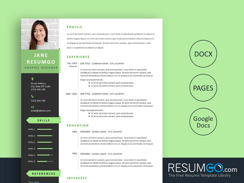 PELAGIOS - Free Green Ribbons Resume Template - ResumGO