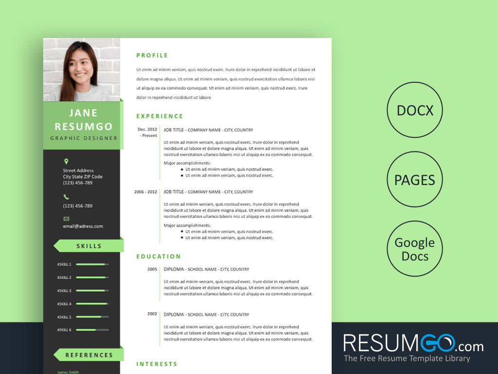 PELAGIOS - Free Green Ribbons Resume Template - ResumGO