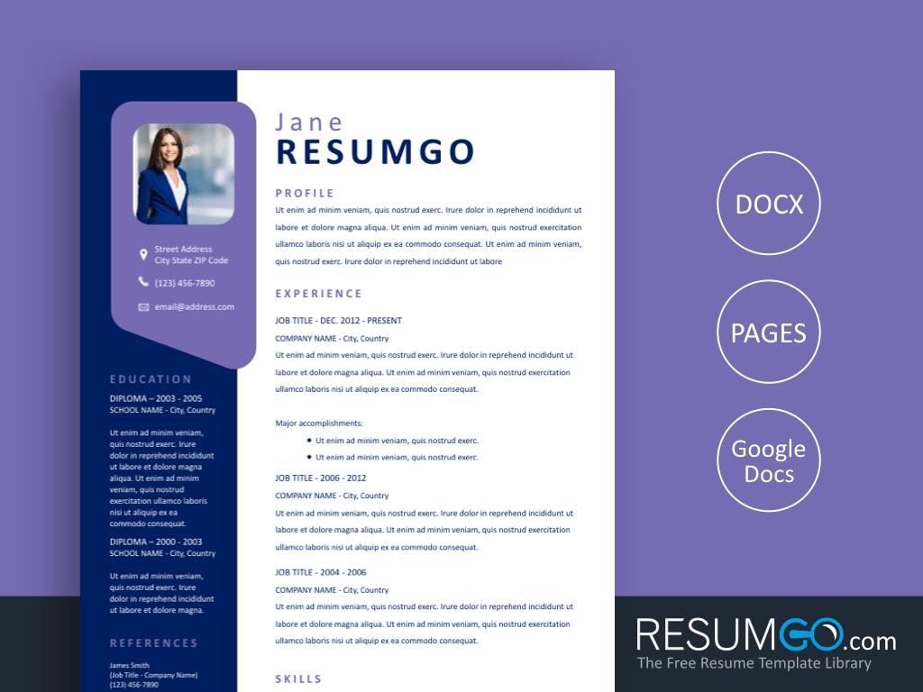 PENELOPE - Free Modern Purple Window Resume Template - ResumGO