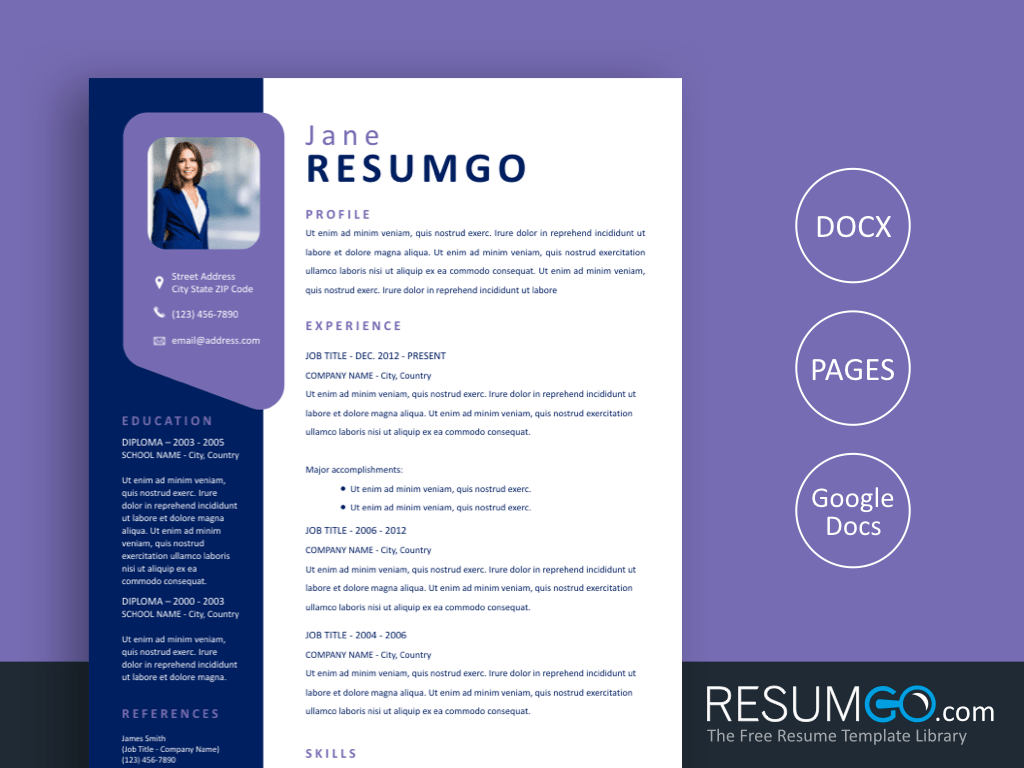PENELOPE - Free Modern Purple Window Resume Template - ResumGO