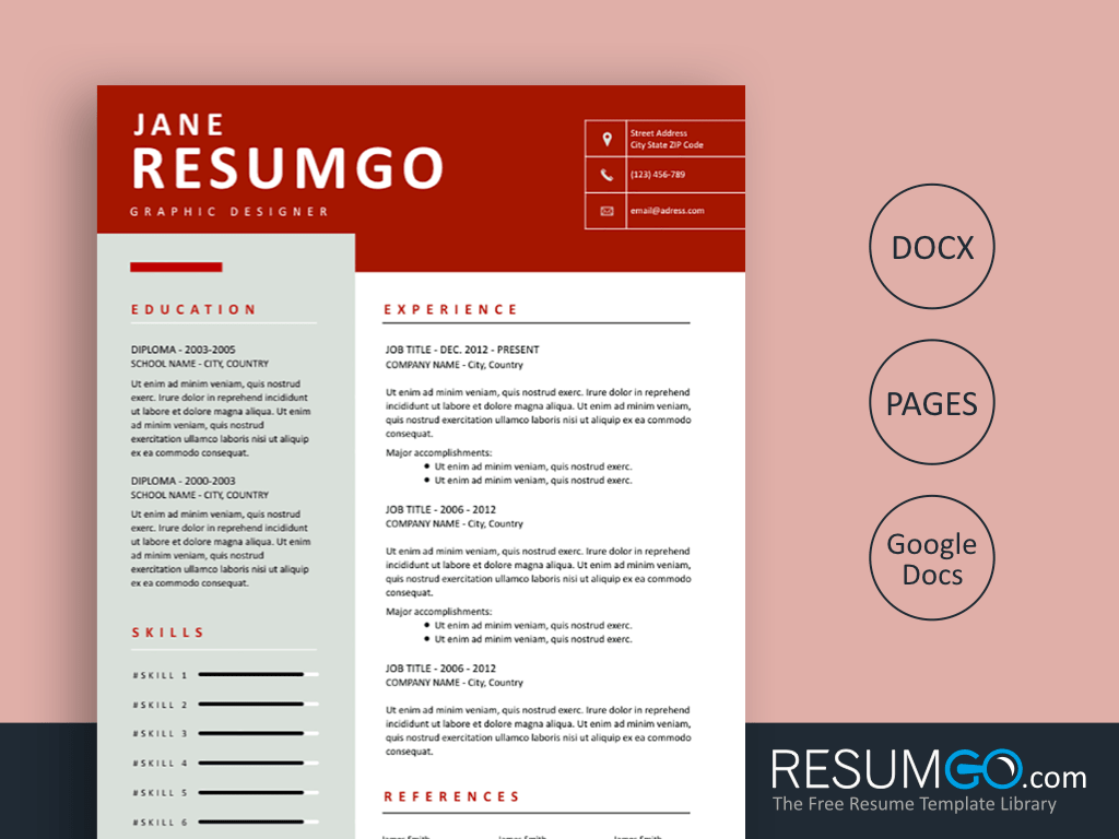PHAIDRA - Free Clean Rufous Banner Resume Template - ResumGO