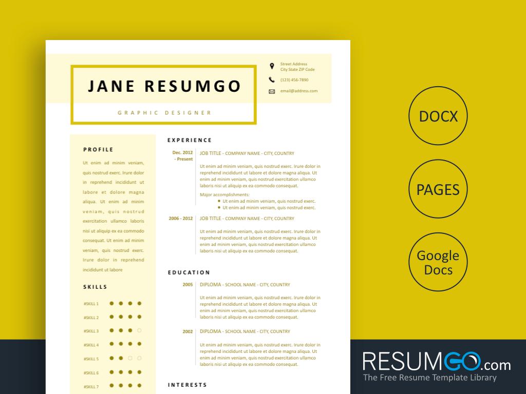 PHILE - Free Creamy Resume Template - ResumGO