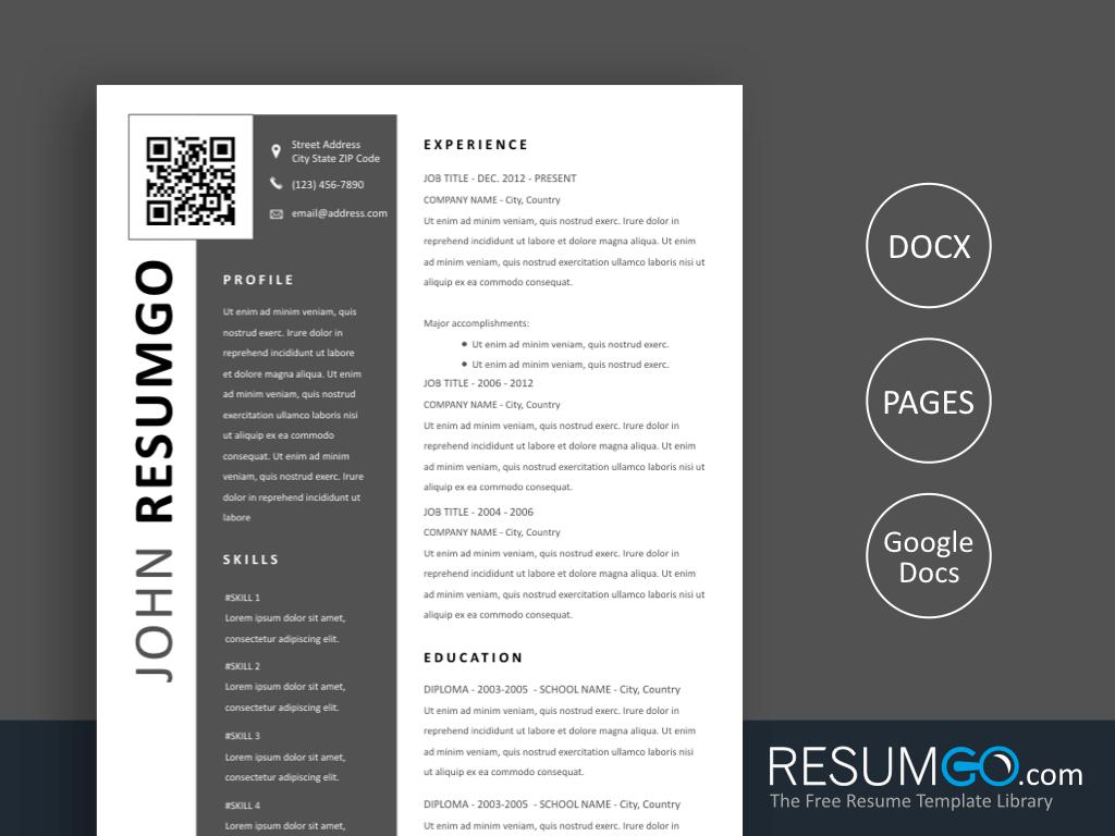 PTOLEMA - Free Modern Resume Template QR Code - ResumGO