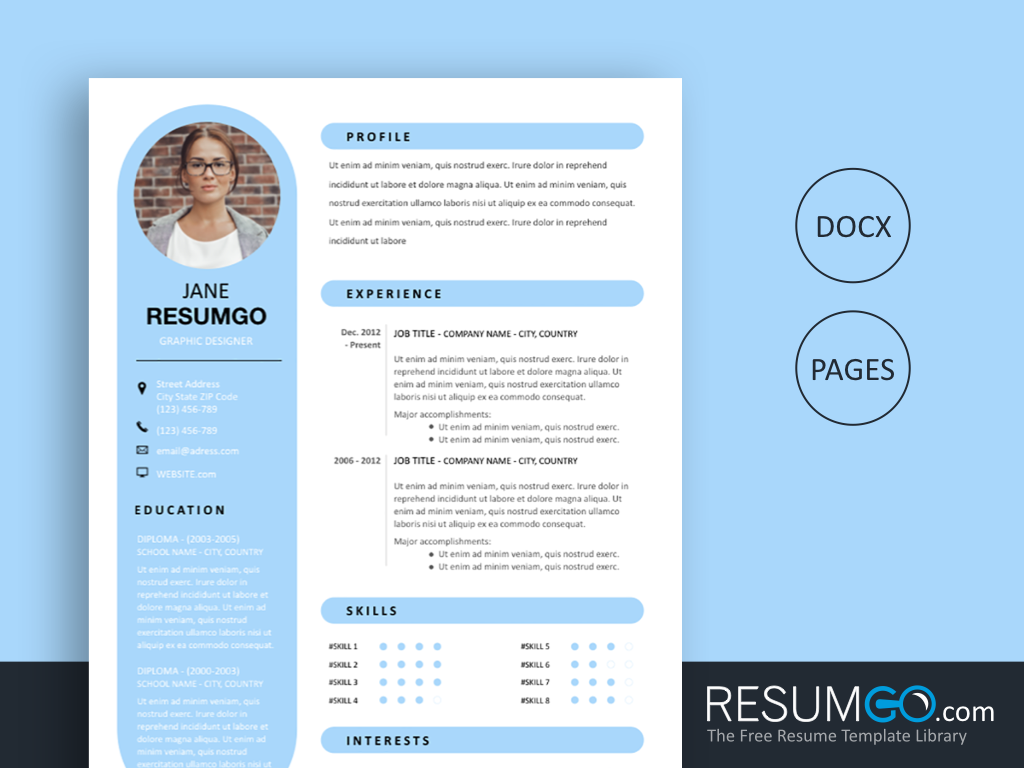 RHEA - Free Sky Blue and Modern Resume Template - ResumGO