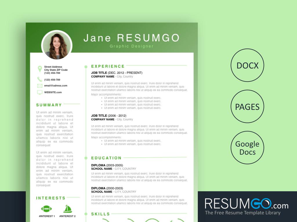 RHODA - Free Green Gradient Resume Template - ResumGO