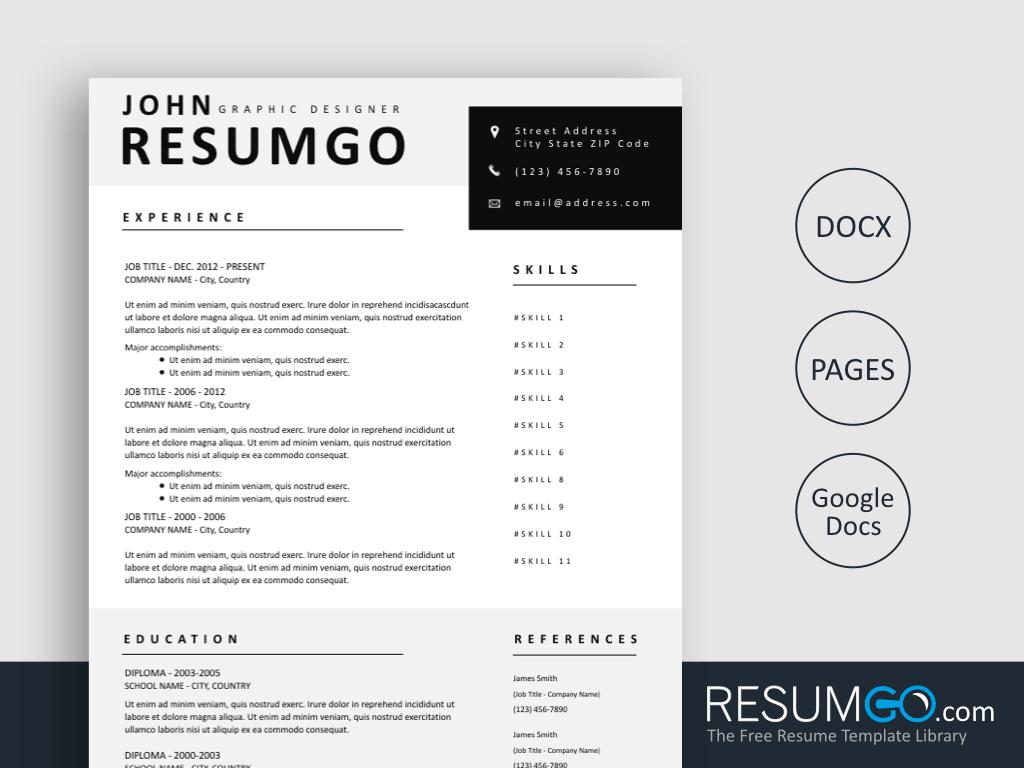 ROXANE - Free Gray Premium Style Resume Template - ResumGO