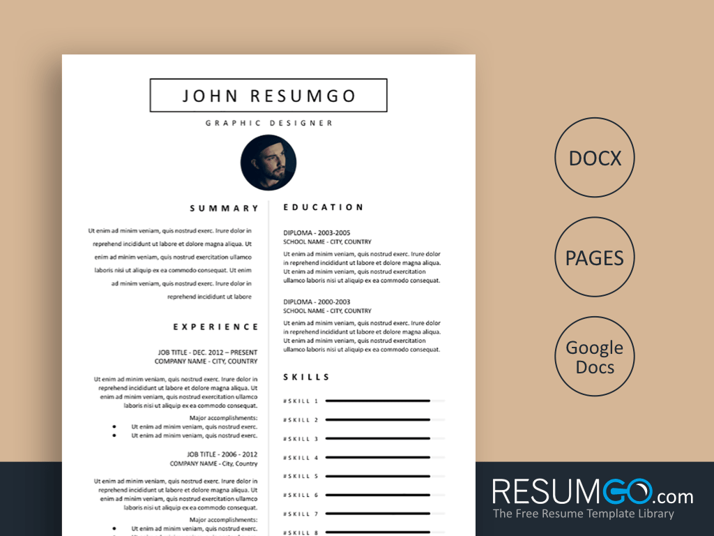 SELENE - Free Classic and Clean Resume Template - ResumGO