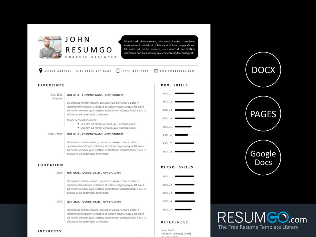 SETHOS - Free Modern Black and White Resume Template - ResumGO