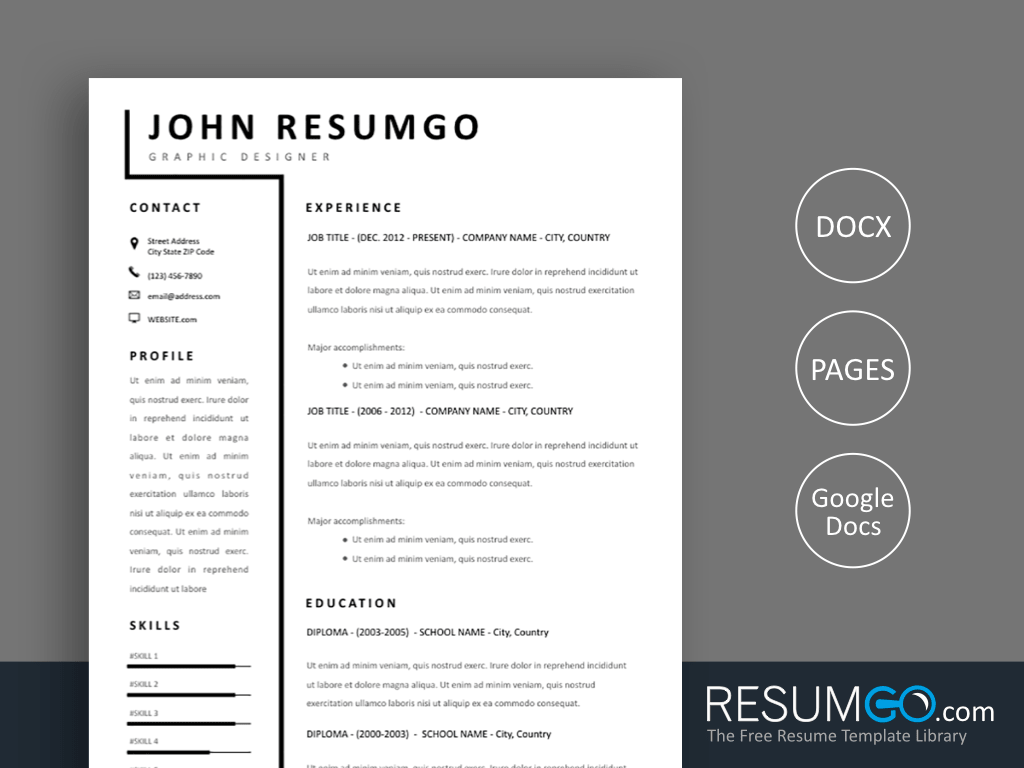 SMEME - Free Simple 2 Column Resume Template - ResumGO