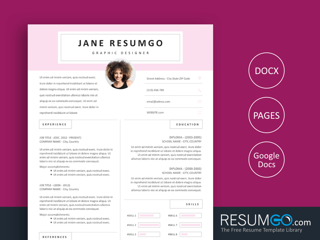 SOTIRIA - Free Pink Resume Template with Nice Header - ResumGO