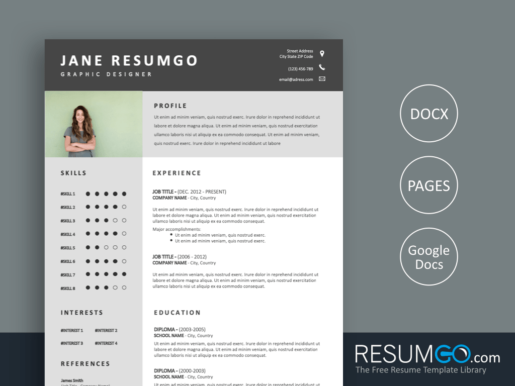 STAMATIA - Free Clean and Professional Resume Template - ResumGO