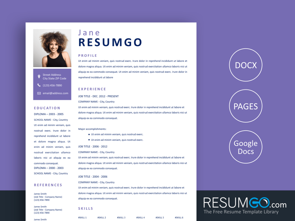 SYLO - Free Simple Square Purple Resume Template - ResumGO