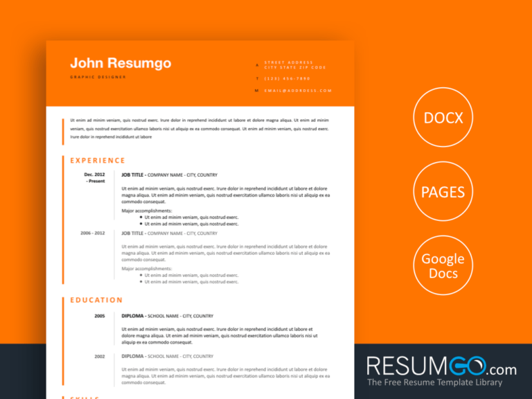 TAKIS - Free Orange Clean Resume Template - ResumGO