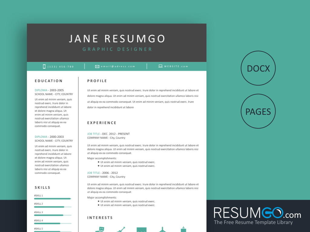 TANIS - Free Classic and Professional Teal Resume Template - ResumGO