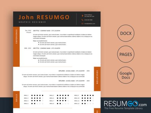 TEDORA - Free Resume Template Alternating Content Sections - ResumGO