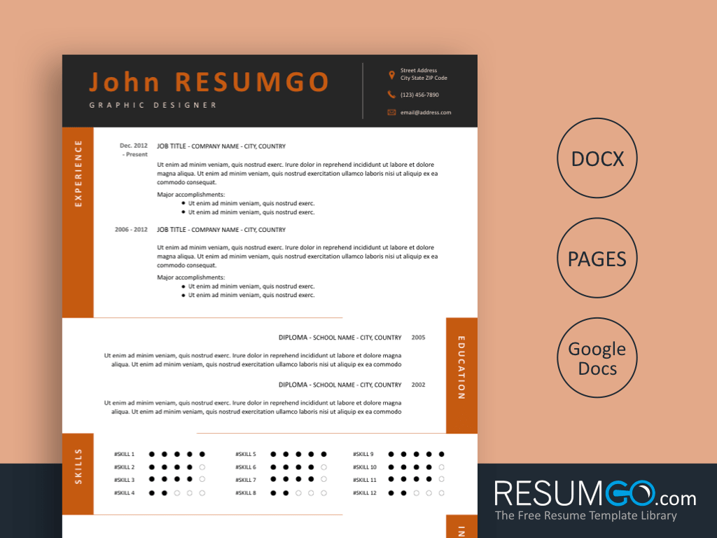 TEDORA - Free Resume Template Alternating Content Sections - ResumGO