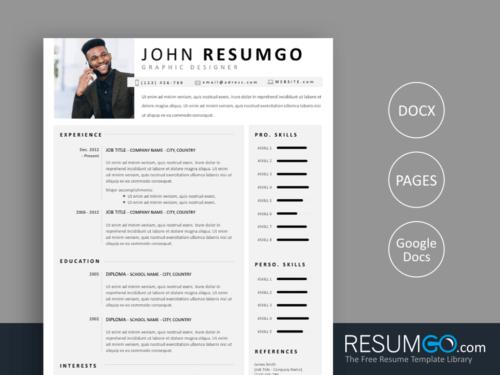 TELAMON - Free Simple Resume Template - ResumGO